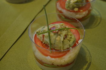 Timbal de puré y aguacate